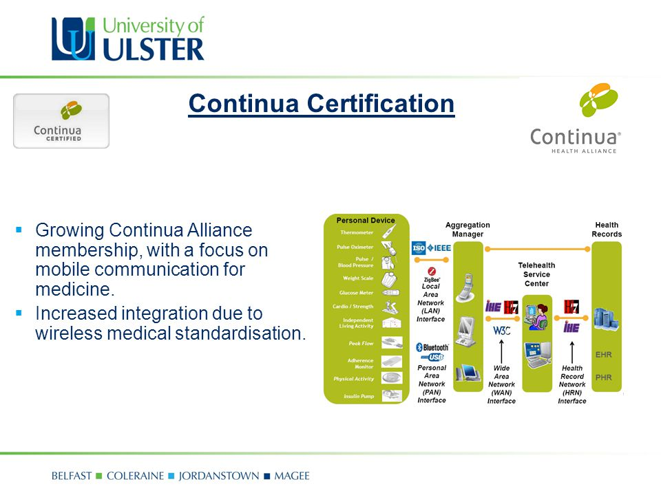 Continua Certification Growing Continua Alliance membership, with a focus on mobile communication for medicine.