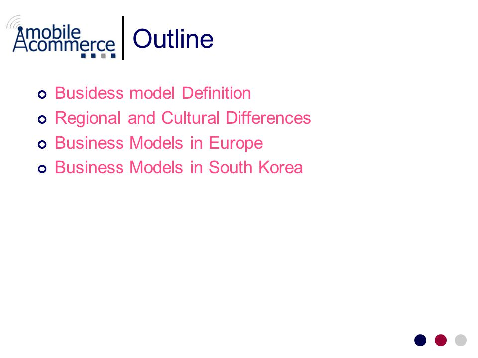 Outline Busidess model Definition Regional and Cultural Differences Business Models in Europe Business Models in South Korea