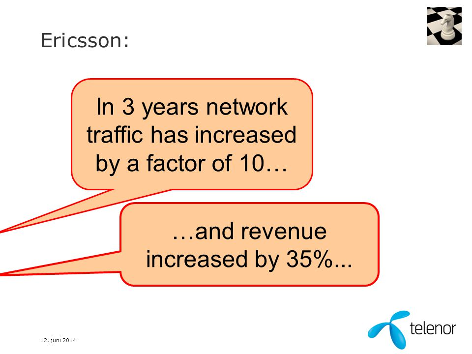 12. juni 2014 Ericsson: In 3 years network traffic has increased by a factor of 10… …and revenue increased by 35%...