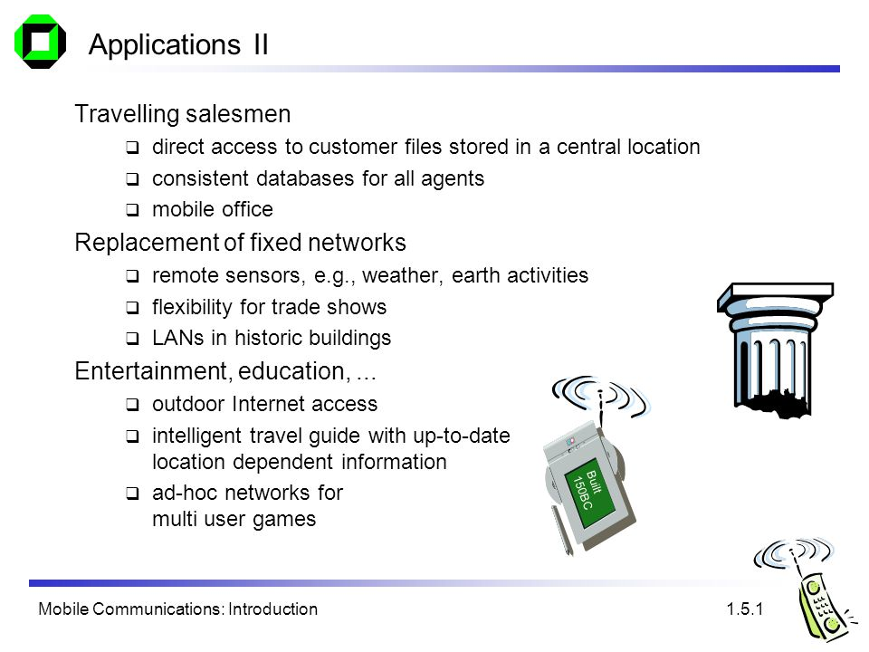 Mobile Communications: Introduction Applications II Travelling salesmen direct access to customer files stored in a central location consistent databases for all agents mobile office Replacement of fixed networks remote sensors, e.g., weather, earth activities flexibility for trade shows LANs in historic buildings Entertainment, education,...