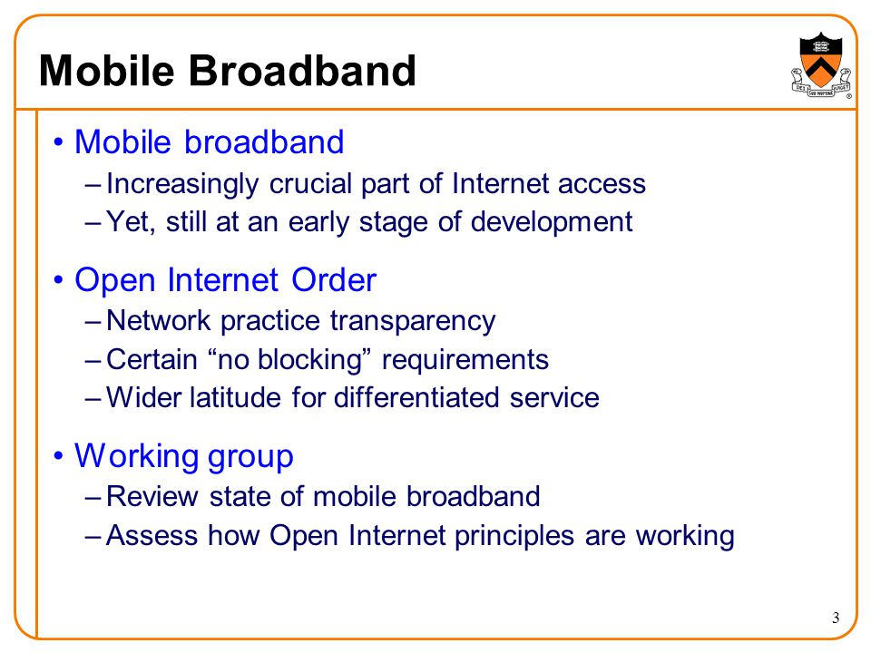Mobile Broadband Mobile broadband –Increasingly crucial part of Internet access –Yet, still at an early stage of development Open Internet Order –Netw