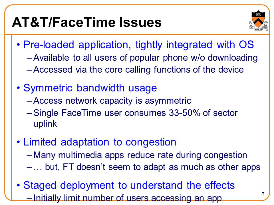 AT&T/FaceTime Issues Pre-loaded application, tightly integrated with OS –Available to all users of popular phone w/o downloading –Accessed via the cor