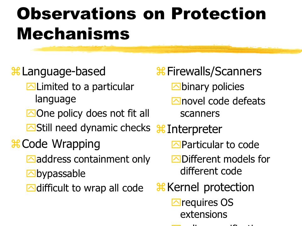 Observations on Protection Mechanisms zLanguage-based yLimited to a particular language yOne policy does not fit all yStill need dynamic checks zCode