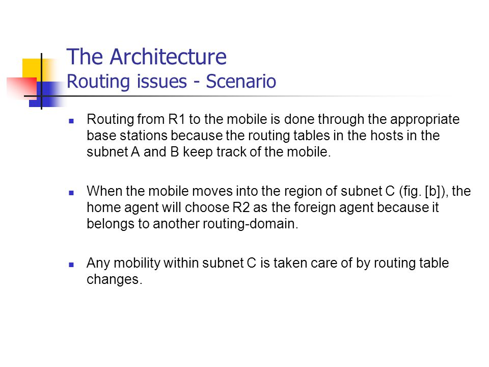 The Architecture Routing issues - Scenario Routing from R1 to the mobile is done through the appropriate base stations because the routing tables in t