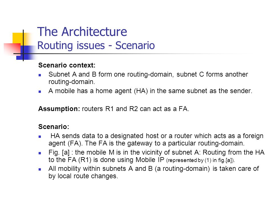 The Architecture Routing issues - Scenario Scenario context: Subnet A and B form one routing-domain, subnet C forms another routing-domain. A mobile h