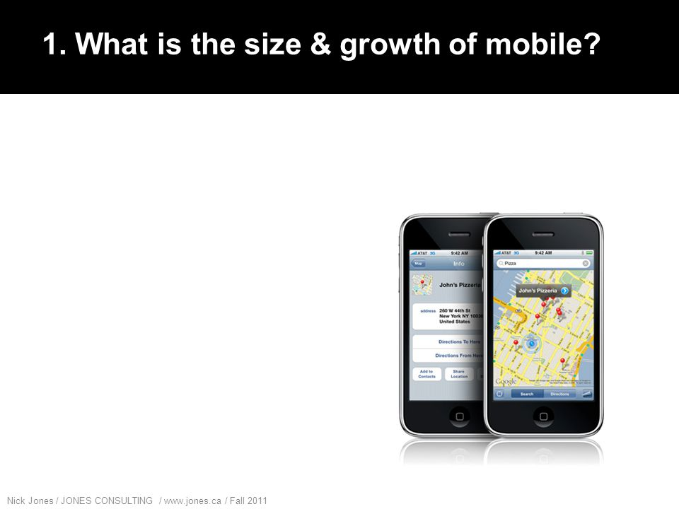 Nick Jones / JONES CONSULTING / www.jones.ca / Fall 2011 Mobile has seen massive adoption in Canada in the last 10 years: Source: http://cwta.ca/CWTASite/english/facts_figures_charts/subgrowth_e.htmlhttp://cwta.ca/CWTASite/english/facts_figures_charts/subgrowth_e.html