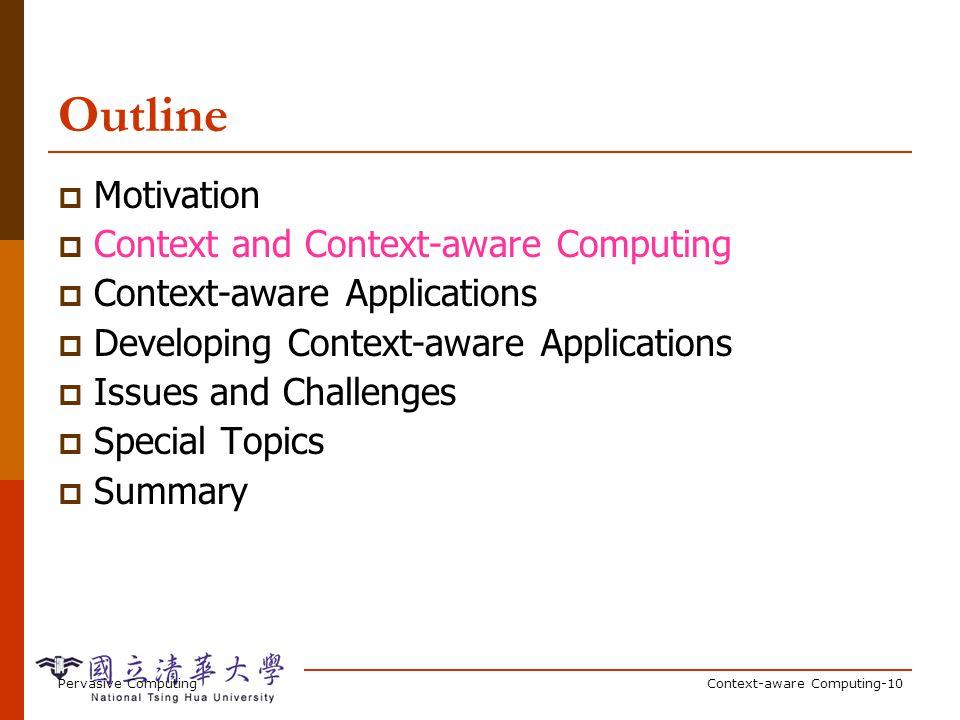 Pervasive ComputingContext-aware Computing-10 Outline Motivation Context and Context-aware Computing Context-aware Applications Developing Context-awa