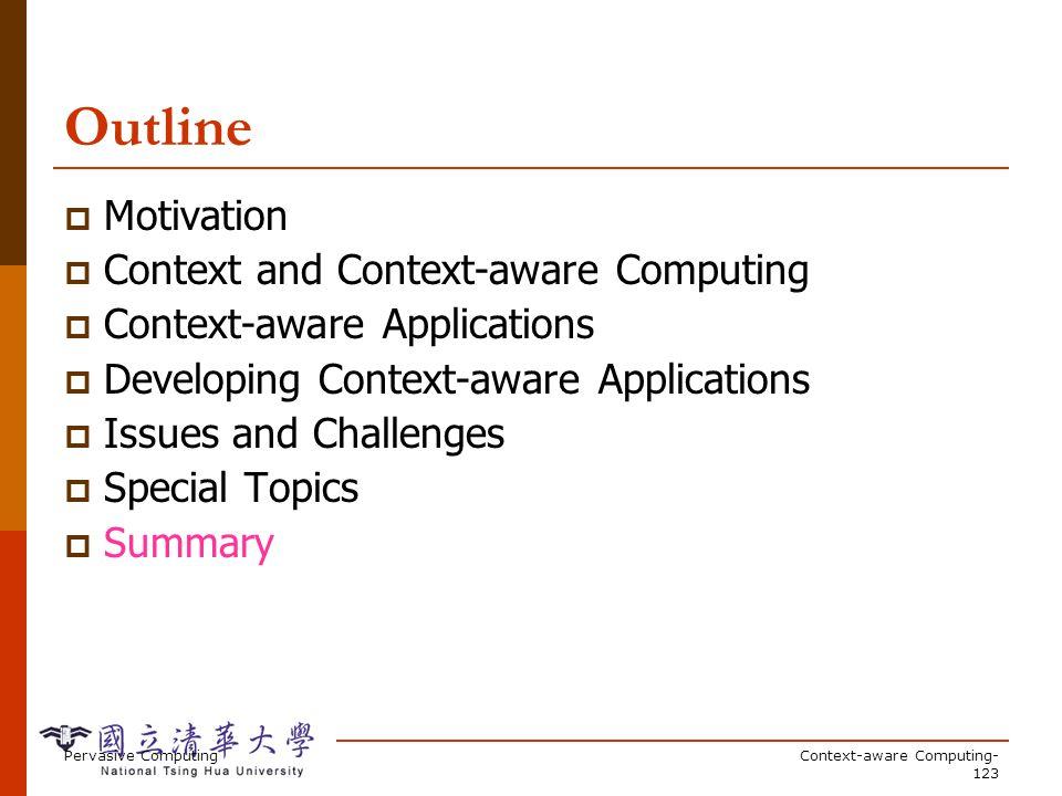 Pervasive ComputingContext-aware Computing- 123 Outline Motivation Context and Context-aware Computing Context-aware Applications Developing Context-a