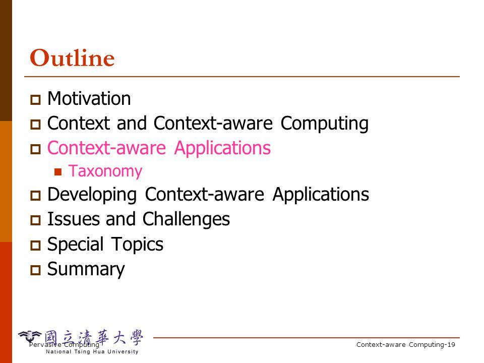 Pervasive ComputingContext-aware Computing-19 Outline Motivation Context and Context-aware Computing Context-aware Applications Taxonomy Developing Co