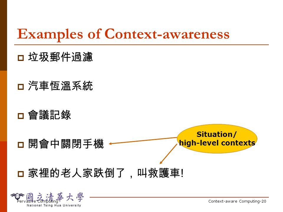 Pervasive ComputingContext-aware Computing-20 Examples of Context-awareness ! Situation/ high-level contexts