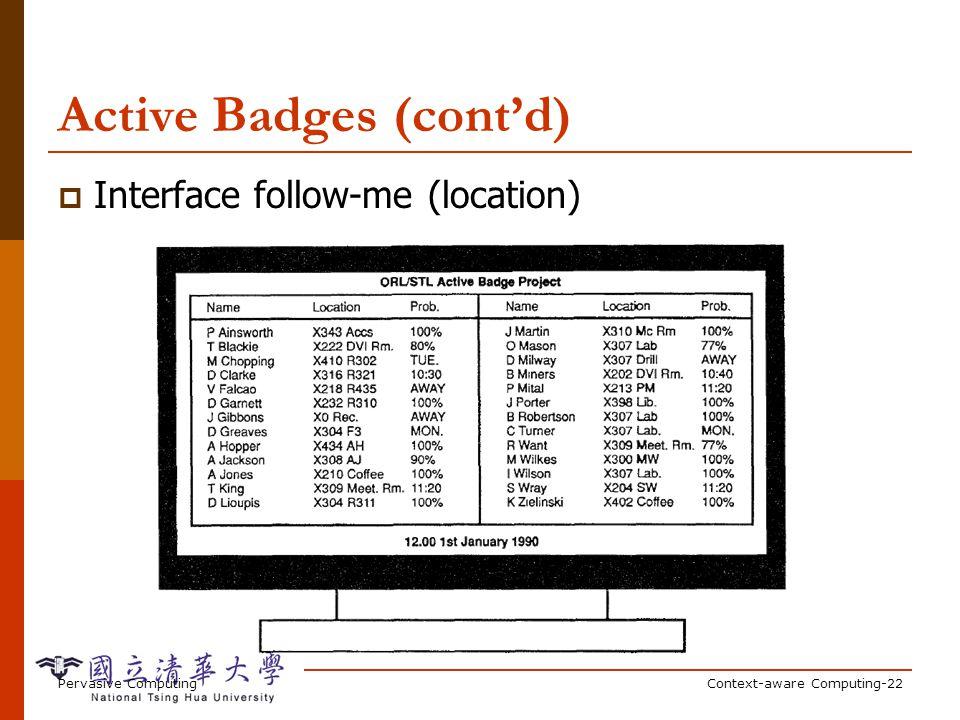 Pervasive ComputingContext-aware Computing-22 Active Badges (contd) Interface follow-me (location)