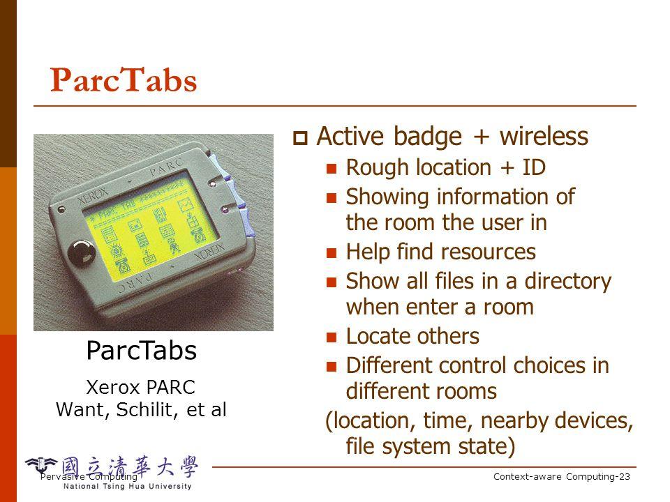 Pervasive ComputingContext-aware Computing-23 ParcTabs Xerox PARC Want, Schilit, et al Active badge + wireless Rough location + ID Showing information