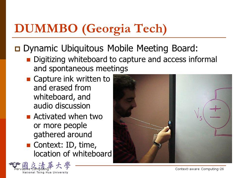 Pervasive ComputingContext-aware Computing-26 DUMMBO (Georgia Tech) Dynamic Ubiquitous Mobile Meeting Board: Digitizing whiteboard to capture and acce