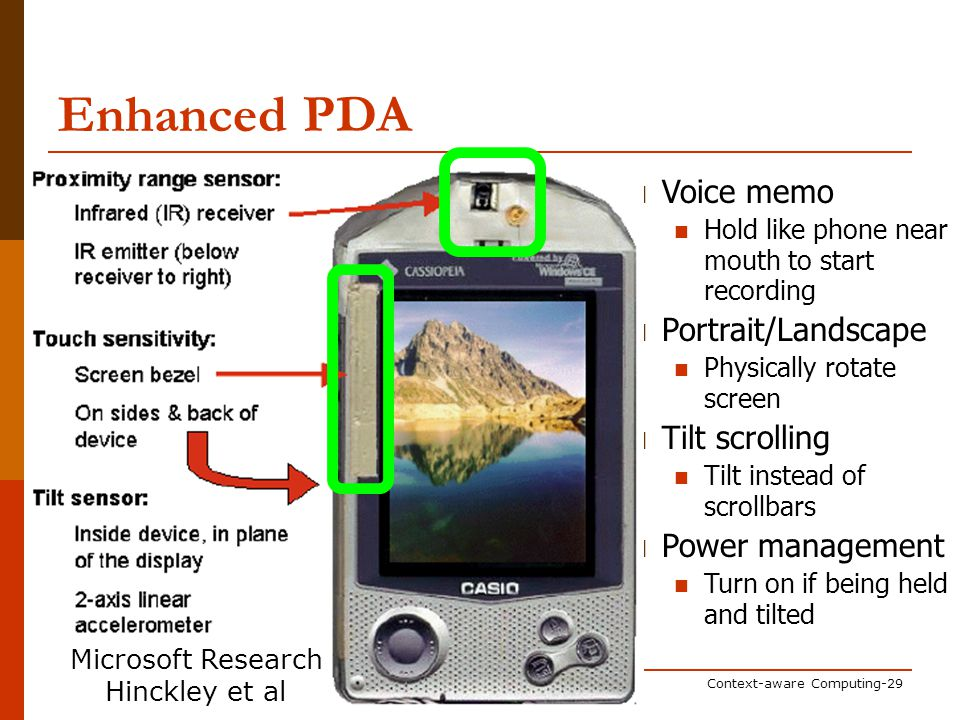 Pervasive ComputingContext-aware Computing-29 Voice memo Hold like phone near mouth to start recording Portrait/Landscape Physically rotate screen Tilt scrolling Tilt instead of scrollbars Power management Turn on if being held and tilted Enhanced PDA Microsoft Research Hinckley et al