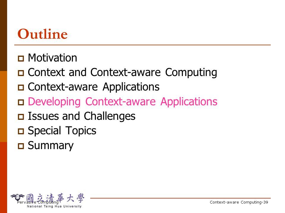 Pervasive ComputingContext-aware Computing-39 Outline Motivation Context and Context-aware Computing Context-aware Applications Developing Context-awa