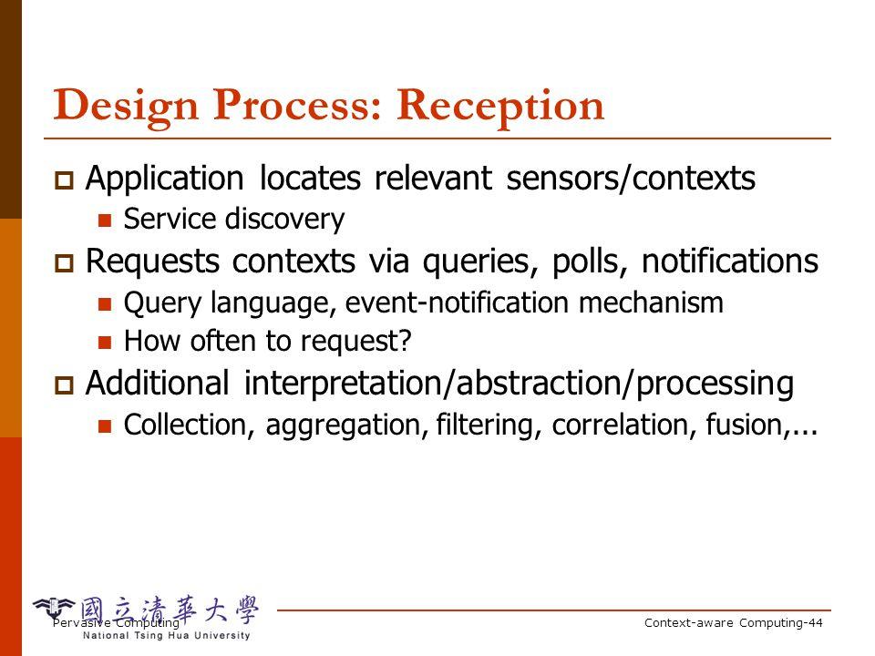 Pervasive ComputingContext-aware Computing-44 Design Process: Reception Application locates relevant sensors/contexts Service discovery Requests conte
