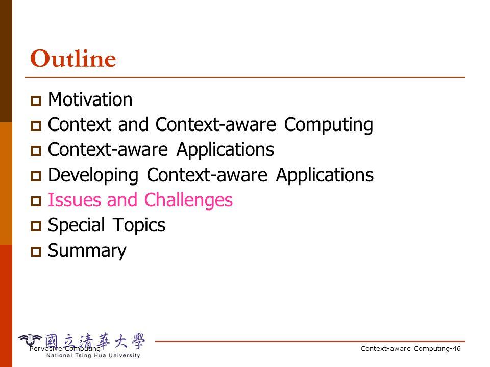 Pervasive ComputingContext-aware Computing-46 Outline Motivation Context and Context-aware Computing Context-aware Applications Developing Context-awa