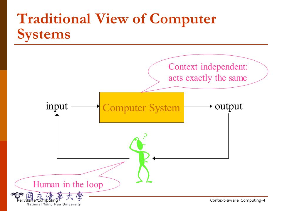 Pervasive ComputingContext-aware Computing-4 Traditional View of Computer Systems Computer System inputoutput Context independent: acts exactly the same Human in the loop