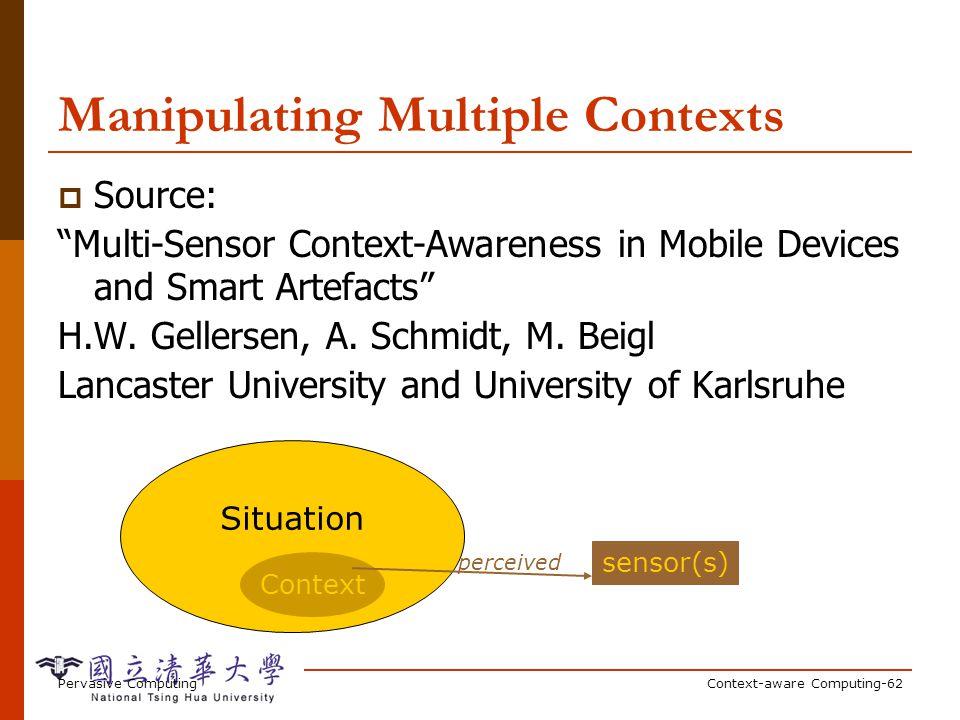 Pervasive ComputingContext-aware Computing-62 Manipulating Multiple Contexts Source: Multi-Sensor Context-Awareness in Mobile Devices and Smart Artefa