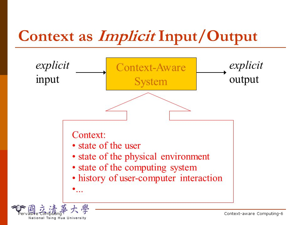 Pervasive ComputingContext-aware Computing-6 Context as Implicit Input/Output Context-Aware System explicit input explicit output Context: state of the user state of the physical environment state of the computing system history of user-computer interaction...