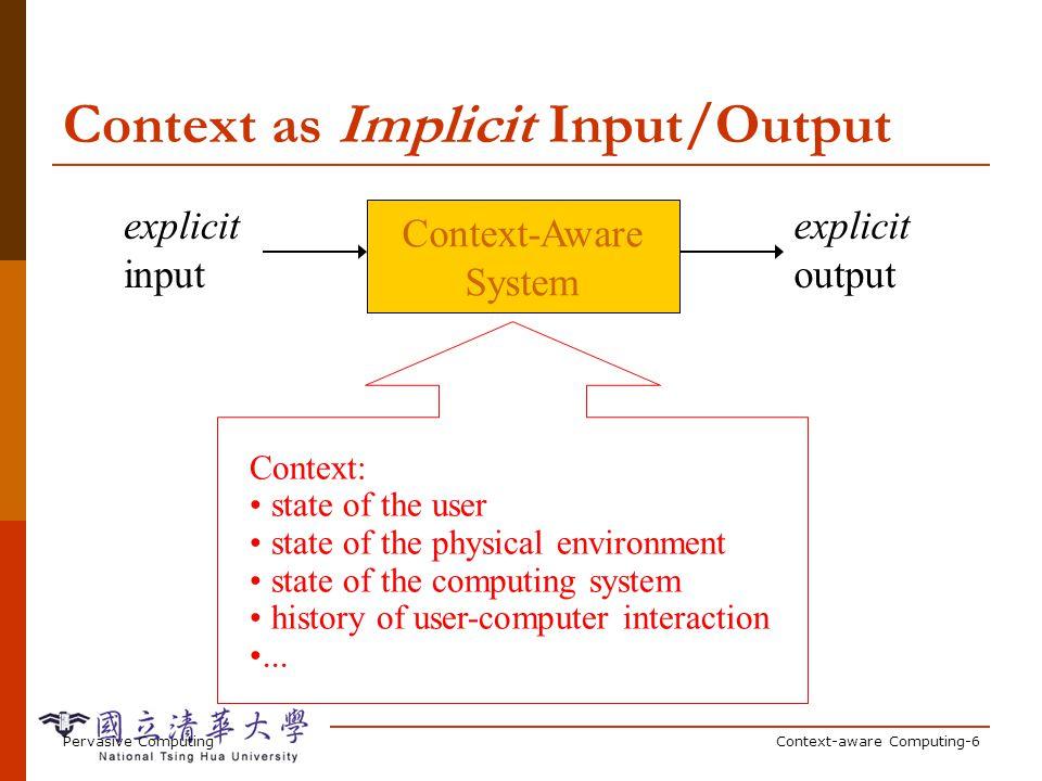 Pervasive ComputingContext-aware Computing-6 Context as Implicit Input/Output Context-Aware System explicit input explicit output Context: state of th
