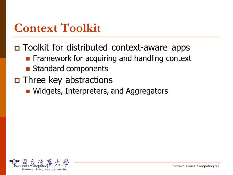 Pervasive ComputingContext-aware Computing-91 Context Toolkit Toolkit for distributed context-aware apps Framework for acquiring and handling context