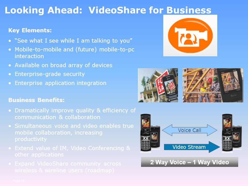 Page 24 Looking Ahead: VideoShare for Business Key Elements: See what I see while I am talking to you Mobile-to-mobile and (future) mobile-to-pc inter