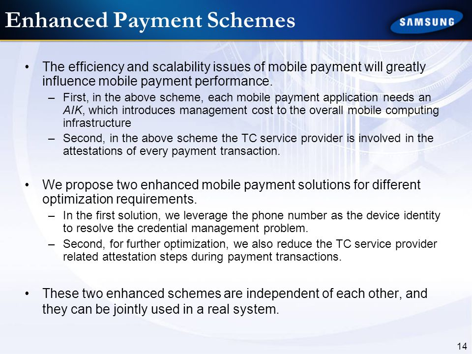 14 Enhanced Payment Schemes The efficiency and scalability issues of mobile payment will greatly influence mobile payment performance. –First, in the