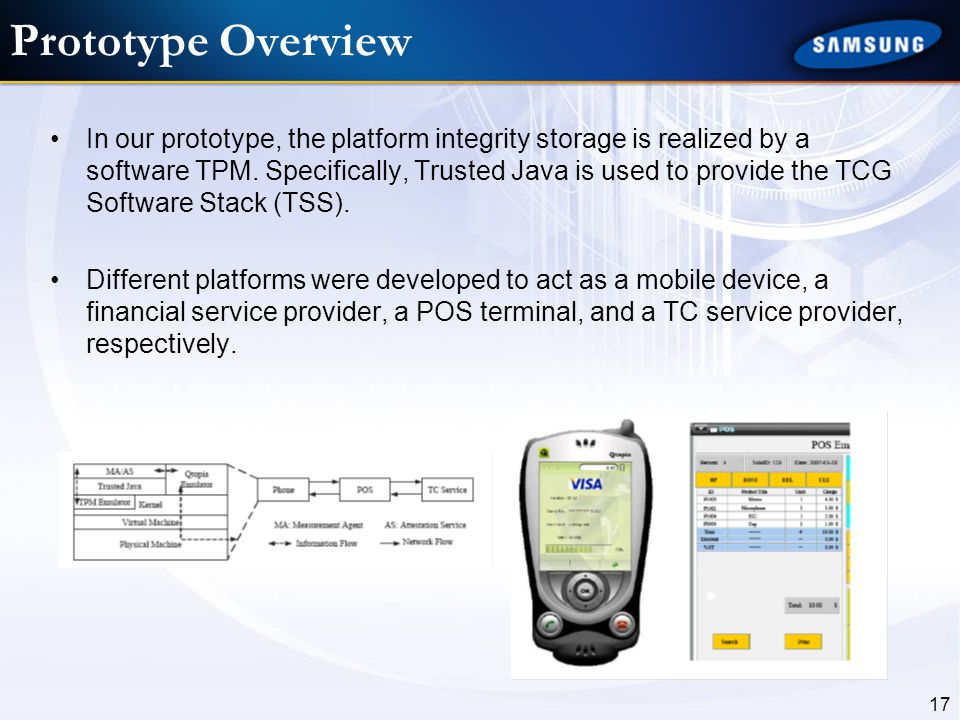 17 Prototype Overview In our prototype, the platform integrity storage is realized by a software TPM. Specifically, Trusted Java is used to provide th