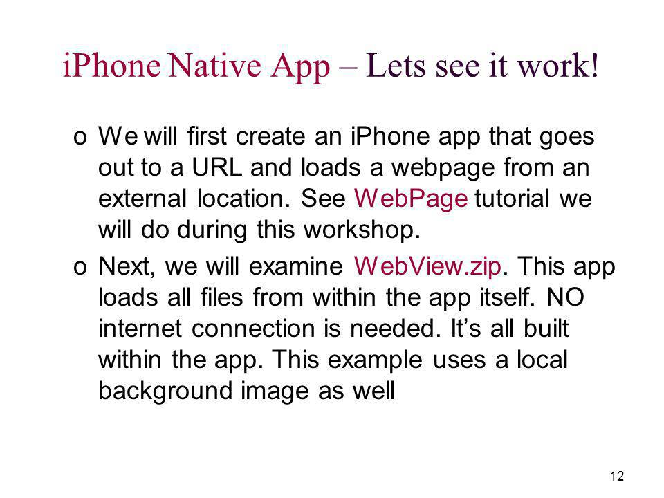 12 iPhone Native App – Lets see it work.