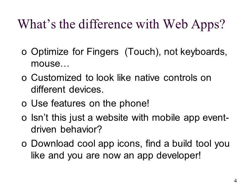 4 Whats the difference with Web Apps.
