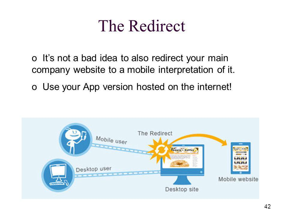 42 The Redirect o Its not a bad idea to also redirect your main company website to a mobile interpretation of it.
