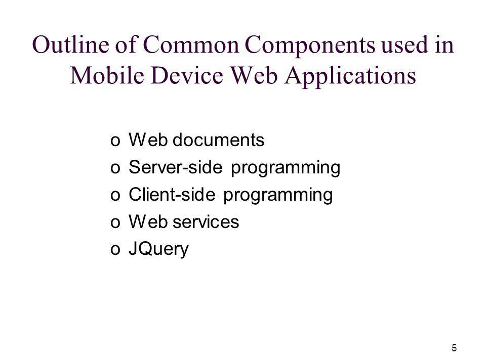 5 Outline of Common Components used in Mobile Device Web Applications oWeb documents oServer-side programming oClient-side programming oWeb services oJQuery