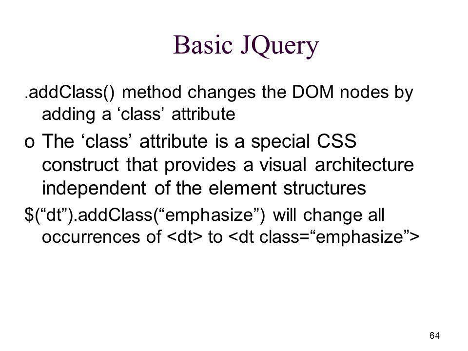 64 Basic JQuery.