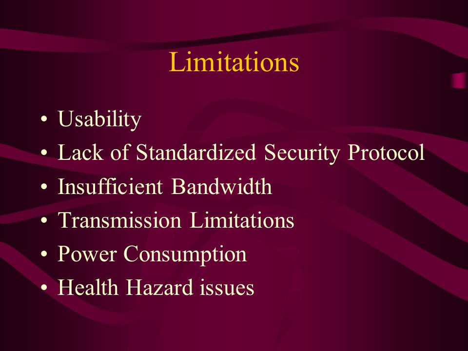Limitations Usability Lack of Standardized Security Protocol Insufficient Bandwidth Transmission Limitations Power Consumption Health Hazard issues