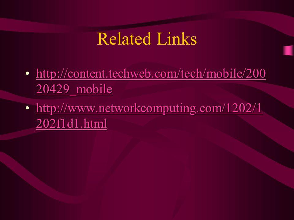 Related Links http://content.techweb.com/tech/mobile/200 20429_mobilehttp://content.techweb.com/tech/mobile/200 20429_mobilehttp://content.techweb.com/tech/mobile/200 20429_mobilehttp://content.techweb.com/tech/mobile/200 20429_mobile http://www.networkcomputing.com/1202/1 202f1d1.htmlhttp://www.networkcomputing.com/1202/1 202f1d1.htmlhttp://www.networkcomputing.com/1202/1 202f1d1.htmlhttp://www.networkcomputing.com/1202/1 202f1d1.html