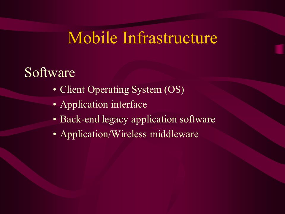 Mobile Infrastructure Software Client Operating System (OS) Application interface Back-end legacy application software Application/Wireless middleware