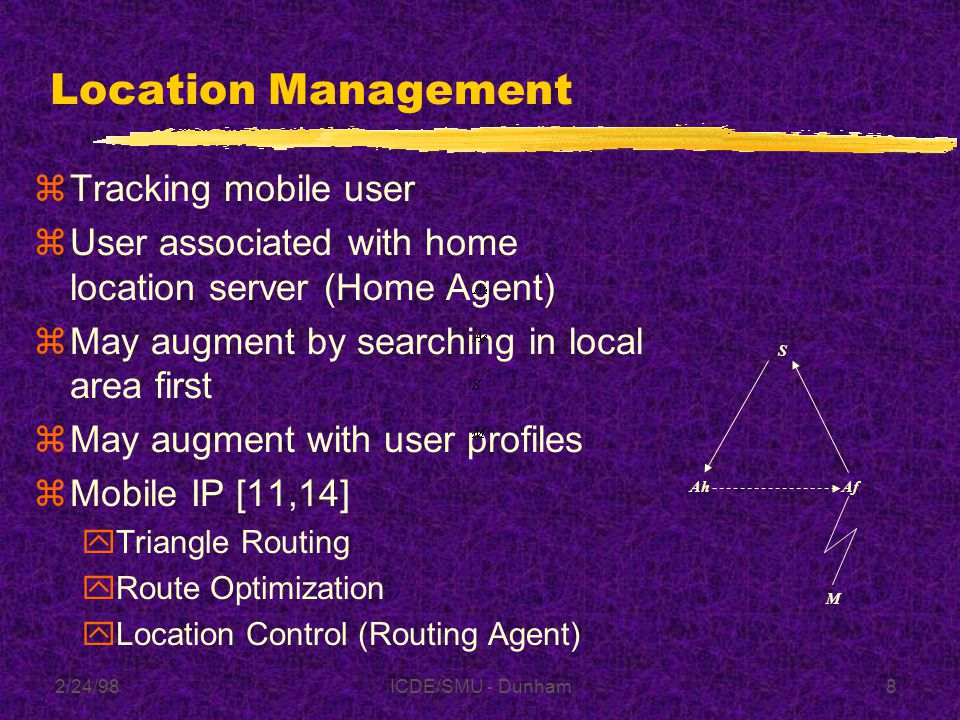 2/24/98ICDE/SMU - Dunham8 Location Management zTracking mobile user zUser associated with home location server (Home Agent) zMay augment by searching in local area first zMay augment with user profiles zMobile IP [11,14] yTriangle Routing yRoute Optimization yLocation Control (Routing Agent) AfAh S M