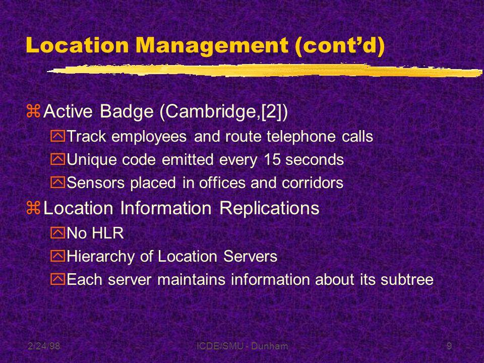 2/24/98ICDE/SMU - Dunham39 Summary Table 3.1 from [15]