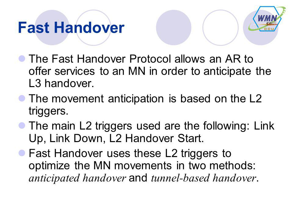 Fast Handover The Fast Handover Protocol allows an AR to offer services to an MN in order to anticipate the L3 handover.
