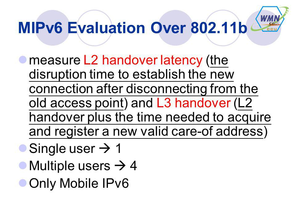 MIPv6 Evaluation Over 802.11b measure L2 handover latency (the disruption time to establish the new connection after disconnecting from the old access point) and L3 handover (L2 handover plus the time needed to acquire and register a new valid care-of address) Single user 1 Multiple users 4 Only Mobile IPv6