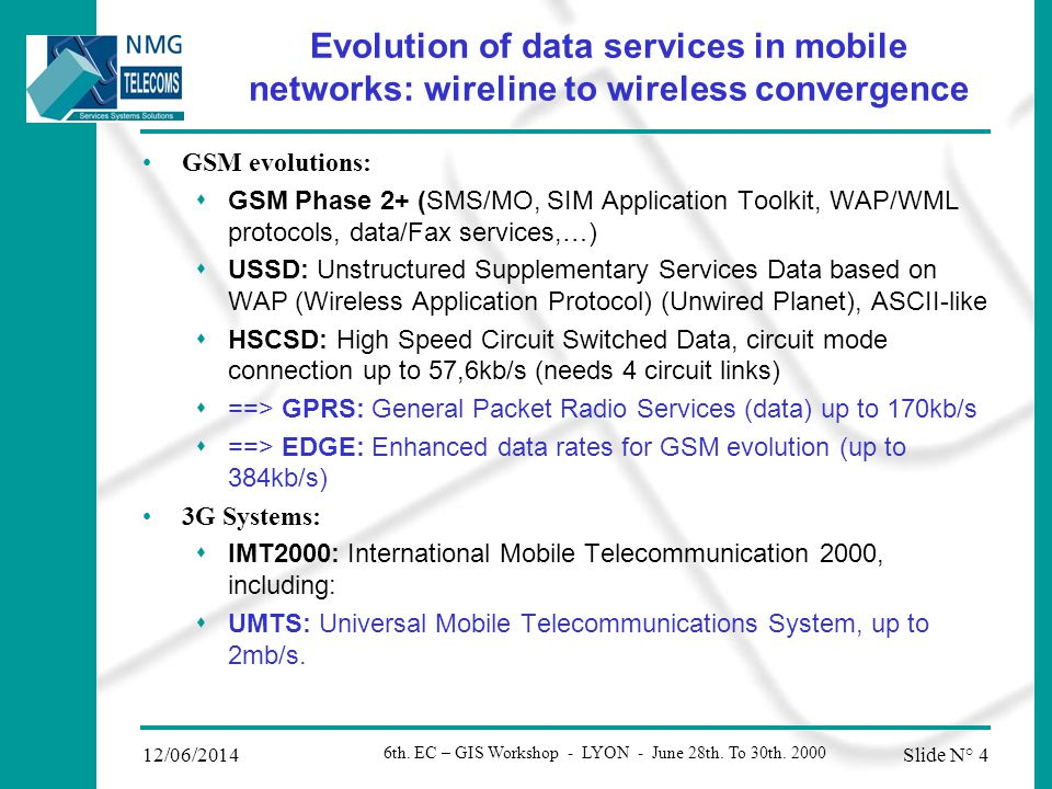 Slide N° 312/06/2014 6th. EC – GIS Workshop - LYON - June 28th. To 30th. 2000 About NMG NMG Group: Headquarters in LYON, 300 employees, 150MF (1999) D