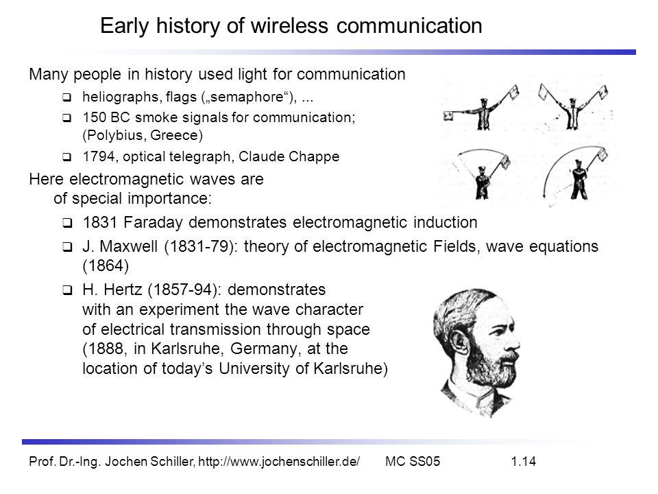 Prof. Dr.-Ing. Jochen Schiller, http://www.jochenschiller.de/MC SS051.14 Early history of wireless communication Many people in history used light for
