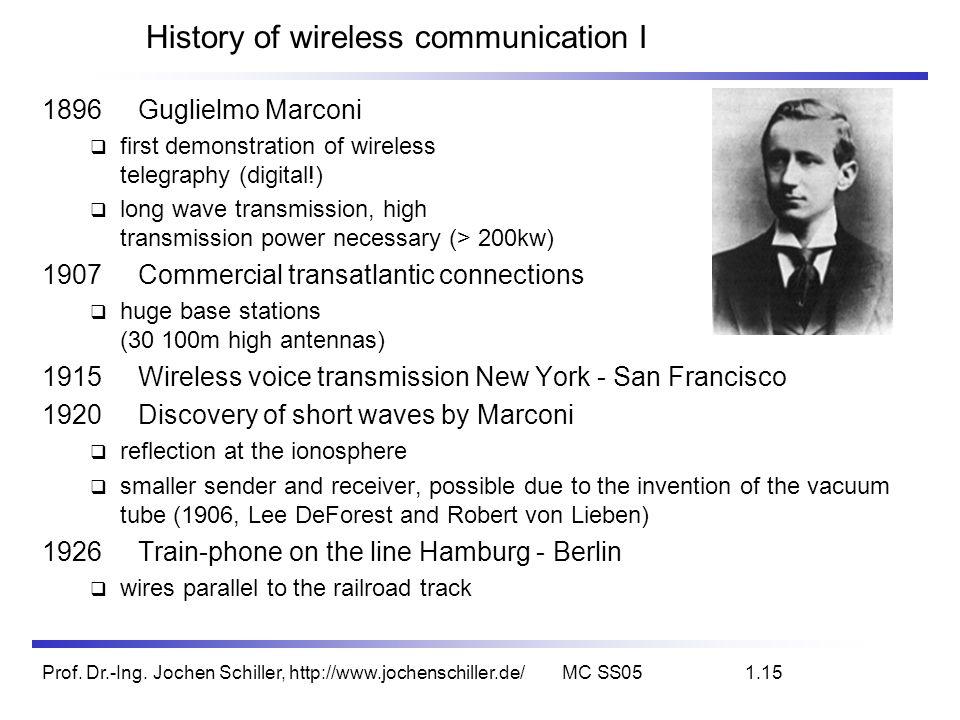 Prof. Dr.-Ing. Jochen Schiller, http://www.jochenschiller.de/MC SS051.15 History of wireless communication I 1896Guglielmo Marconi first demonstration