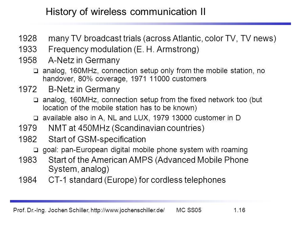 Prof. Dr.-Ing. Jochen Schiller, http://www.jochenschiller.de/MC SS051.16 History of wireless communication II 1928 many TV broadcast trials (across At