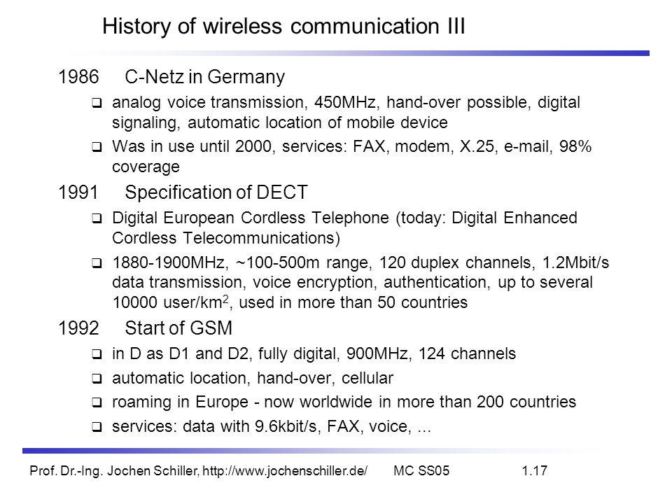 Prof. Dr.-Ing. Jochen Schiller, http://www.jochenschiller.de/MC SS051.17 History of wireless communication III 1986C-Netz in Germany analog voice tran