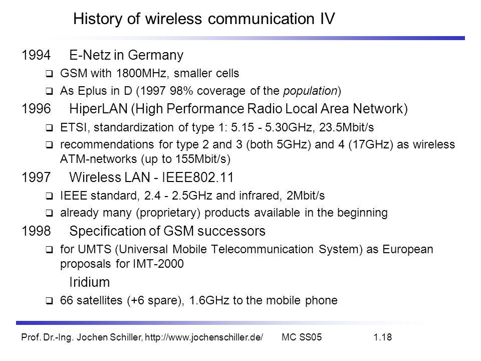 Prof. Dr.-Ing. Jochen Schiller, http://www.jochenschiller.de/MC SS051.18 History of wireless communication IV 1994E-Netz in Germany GSM with 1800MHz,
