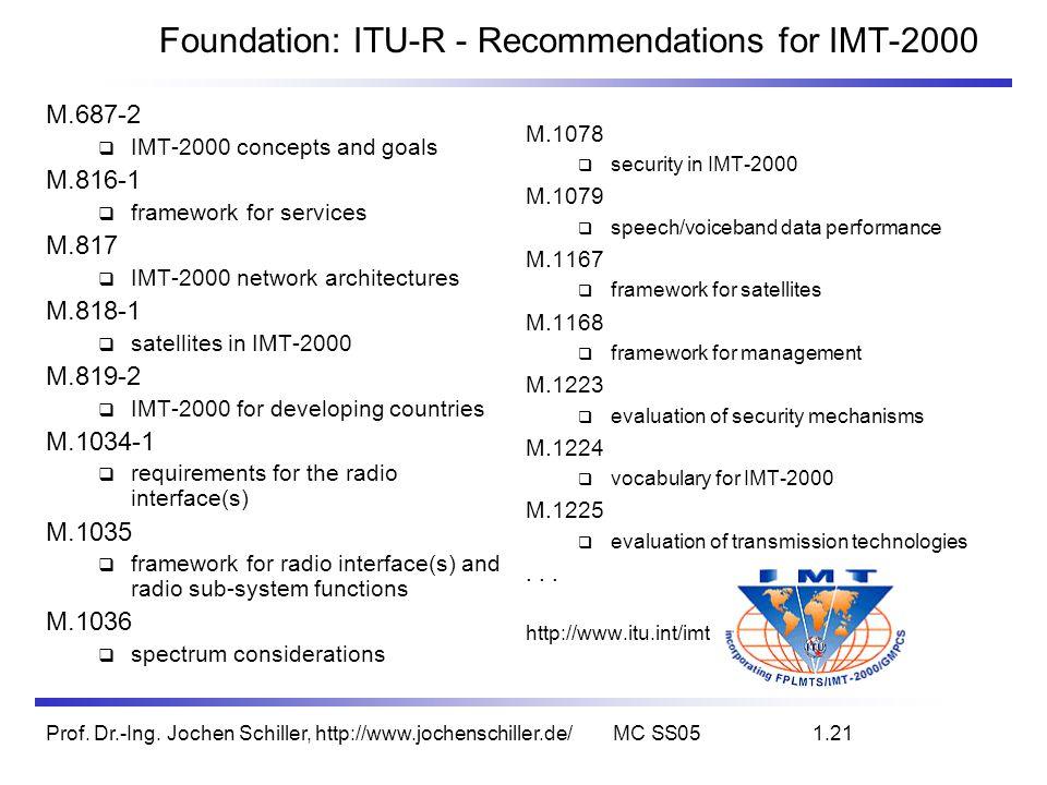 Prof. Dr.-Ing. Jochen Schiller, http://www.jochenschiller.de/MC SS051.21 Foundation: ITU-R - Recommendations for IMT-2000 M.687-2 IMT-2000 concepts an