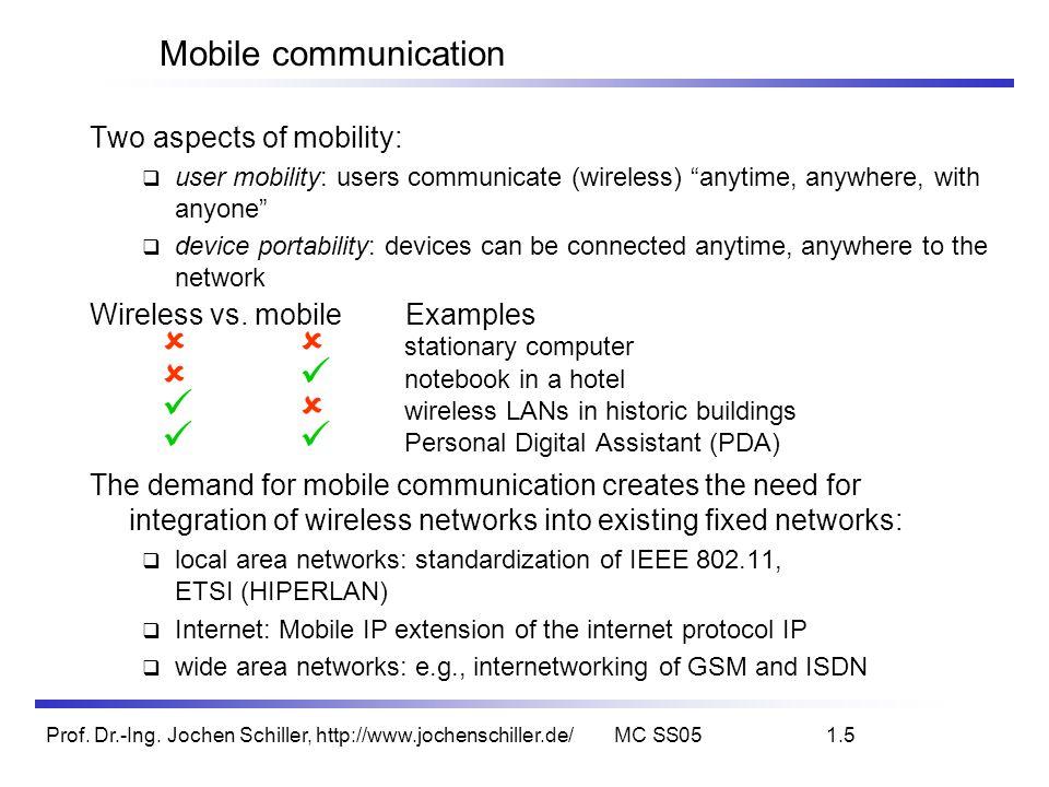 Prof. Dr.-Ing. Jochen Schiller, http://www.jochenschiller.de/MC SS051.5 Mobile communication Two aspects of mobility: user mobility: users communicate