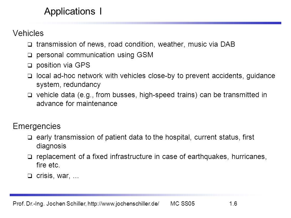 Prof. Dr.-Ing. Jochen Schiller, http://www.jochenschiller.de/MC SS051.6 Applications I Vehicles transmission of news, road condition, weather, music v